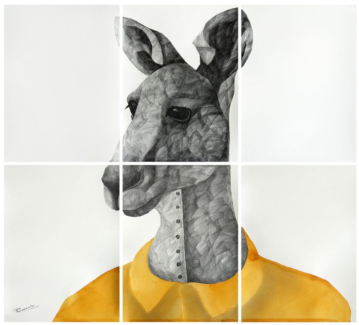 'K' for Kangaroo, by Phaneendra Nath Chaturvedi Pencil & water colour on archival paper, 33 X 30inc., work in 6 units (each unit 11 X 15 inc.), 2011