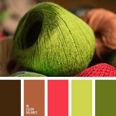 carmesí claro, color madera marrón, color ocre, color verde hierba, color verde lechuga vivo, combinación de colores en interiores, elección del color, marrón claro y verde lechuga, marrón y verde, selección de colores, tonos verdes.