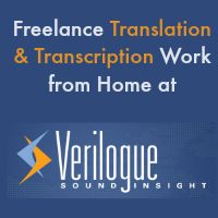 Work from home doing freelance translation and transcription for Verilogue.