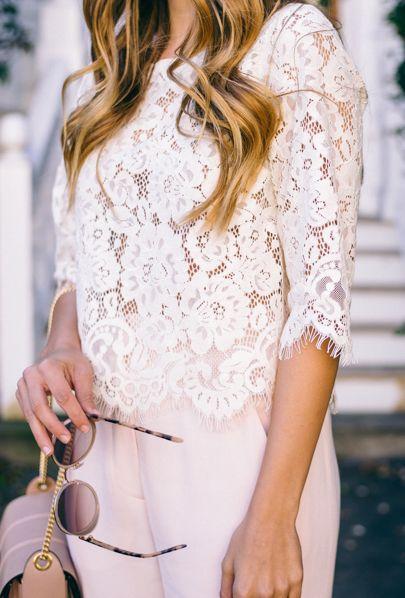 Lace + pastel.