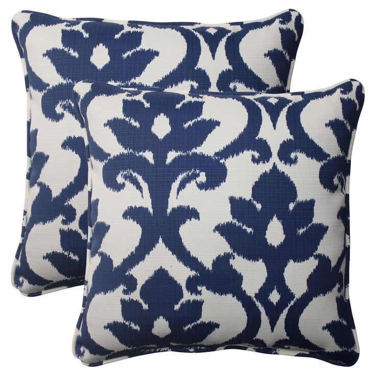 Make your patio pop this summer with outdoor damask toss pillows. These square toss pillows have a dramatic damask print in royal blue and white. Their edges are finished with elegant piping. These patio throw pillows are made of durable fabric that resists outdoor wear and tear, so you can enjoy them for several seasons if you want. Toss a couple on your outdoor wicker loveseat or outdoor chaise lounges to impress your guests with comfort and style.