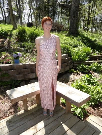 Very clever high school student made her prom dress out of 4000 soda can tabs and ribbon - year before made one out of Doritos bags and year after (2012), out of paper bags & cardboard.