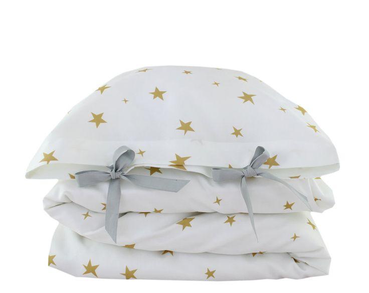 ORGANIC Toddler Bedding set - Stars - yellow.