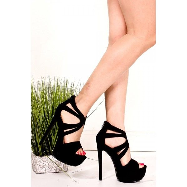 BLACK SUEDE PEEP TOE BACK ZIPPER PLATFORM HIGH HEEL ($26) ❤ liked on Polyvore featuring shoes, pumps, heels, black suede shoes, high heeled footwear, high heel shoes, peep-toe pumps and black pumps