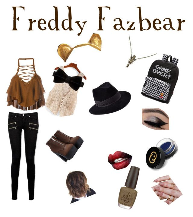 """""""Freddy Fazbear FNAF inspired outfit"""" by just-a-friendly-ghost ❤ liked on Polyvore featuring Balmain, Paige Denim, Zara Taylor, Duchamp, The Rogue + The Wolf, Vans, OPI, Gucci, Chantecaille and Penmayne of London"""