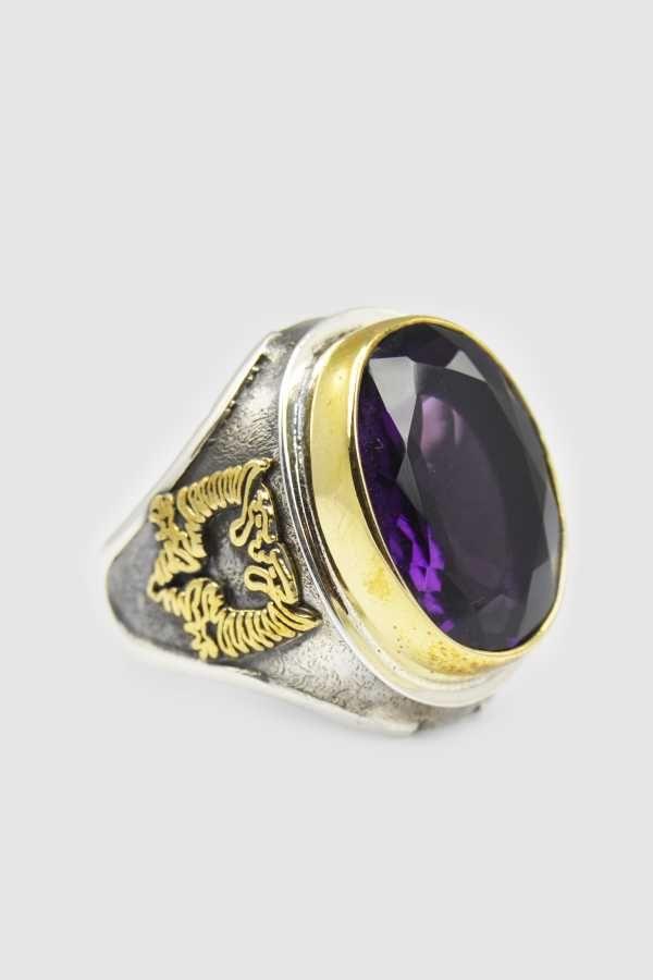 Doğal Taşlı El İşi Mor Ametist Taşı Erkek Yüzüğü