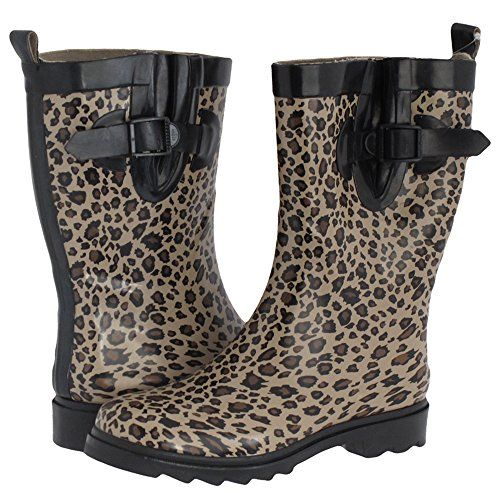 Capelli New York Shiny Baby Leopard Printed Ladies Short Sporty Body Rubber Rain Boot Black Combo 10 -- Click image for more details.