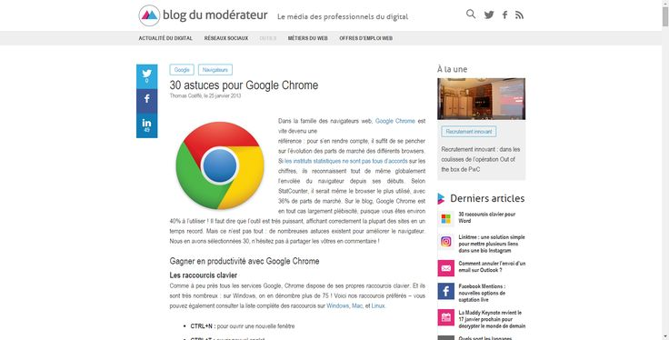 30 astuces pour Google Chrome - Blog du Modérateur