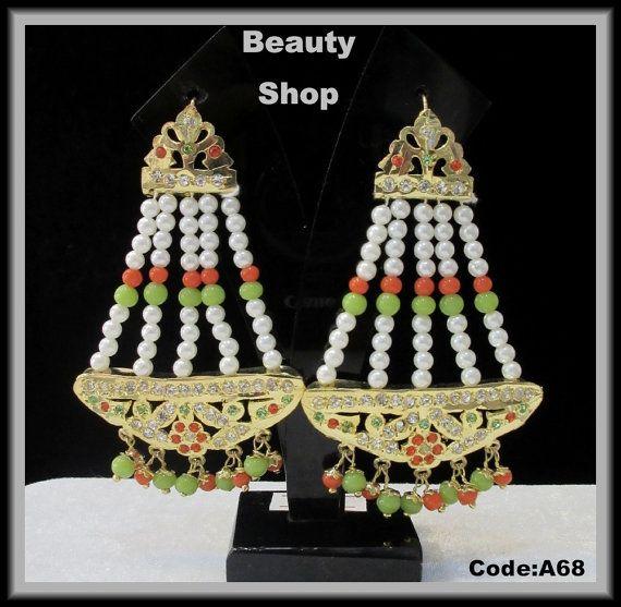 Jadau Jhulla Ethnic Earrings in Orange and Parrot by BeautyShop21, $34.50