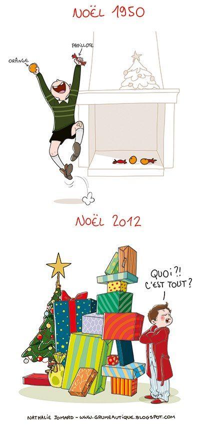 © Nathalie Jomard pour Côté famille #education #gosses-pourris-gâtés #surconso Christmas 1950 / Christmas 2013