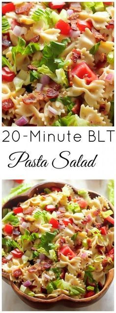 20-minute BLT Pasta Salad - a delicious recipe with bacon, lettuce, tomatoes and bowtie pasta.