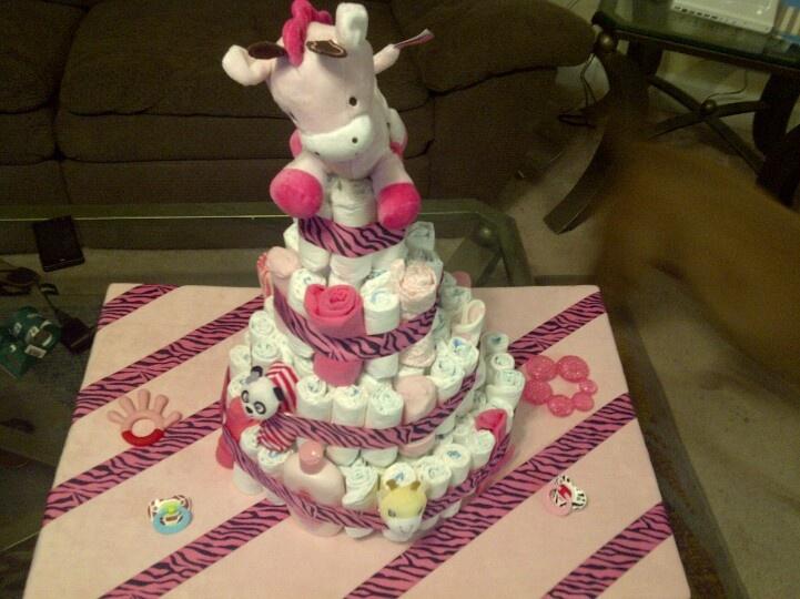 Girl zebra print diaper cake