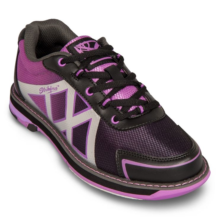 KR Strikeforce Kross Black/Purple Women's Bowling Shoes. Soft durable man-made upper with New K2 Kool Komfort Mesh for lightweight support and breathable functionality with no-sew overlays. Komfort-Fit Construction. Fully textile lined with padded tongue and collar. Non-marking rubber outsole with raised heel. #8 Microfiber Slide Pad on both feet with Flex-Slide Technology.