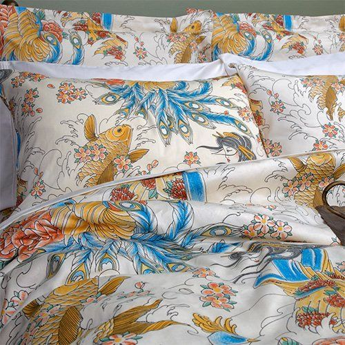 Geisha Garden Colorful Asian Tattoo Duvet Cover, Full/Queen Size by Sin in Linen. $119.00. 100% Cotton. Sateen. Machine Washable. 88 x 92 in / 223.5 x 233.6 cm. Fits Full or Queen Bed. Includes 1 duvet cover. Pillowcases and shams sold separately.. Make your bedroom an exotic oasis with this luxurious duvet cover. Featuring colorful tattoo inspired images of a geisha, koi fish and peacock on an off white background.