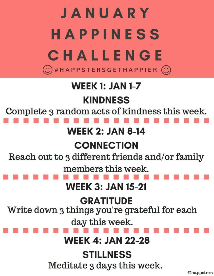 2017 New Year January Happiness Challenge - Random acts of kindness, meditation, gratitude - Happsters