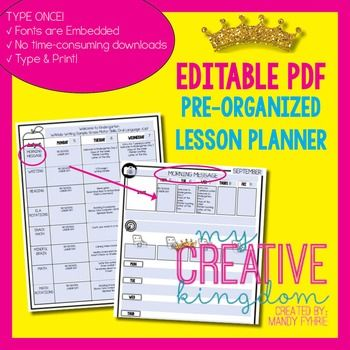 EDITABLE PDF Interactive Teacher Lesson Planner **FREEBIE** limited time only!