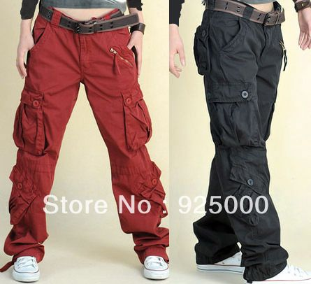 Free shipping woman Loose overalls pants lady's long multi pocket outdoor pant Cargo hiphop trousers dancing dance pants $42.59