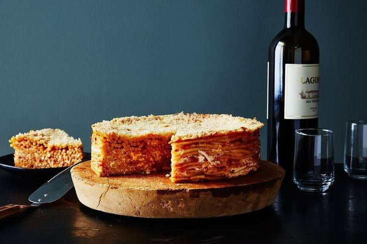 Pasta Pie with Fresh Mozzarella and Basil recipe on Food52