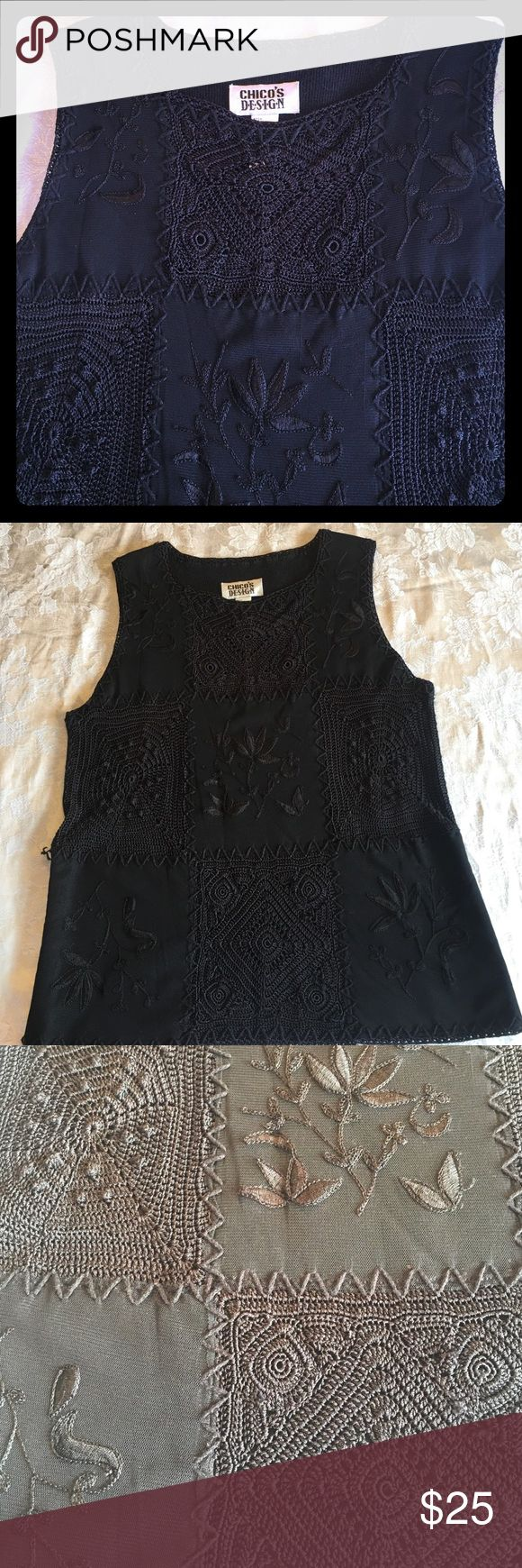 Chico's gorgeous linen Cotten shell - size 2 This blouse has such detail with crochet, embroidery & netting. The detail is subtle yet makes a big statement. I see 2 places where the stitching needs to be attached. It's not torn, just needs to be tacked down Chico's Tops Blouses