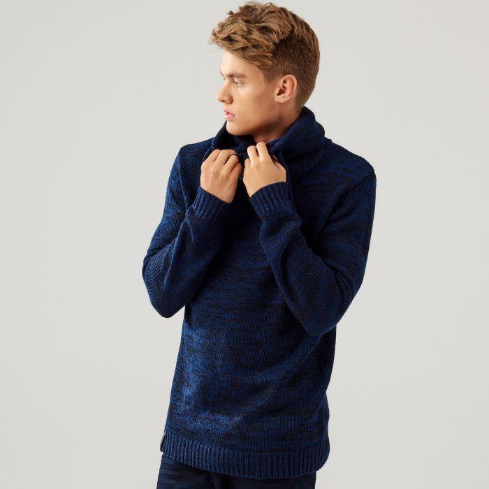Tlustý svetr s límcem, SVETRY, tmavomodrá, CROPP