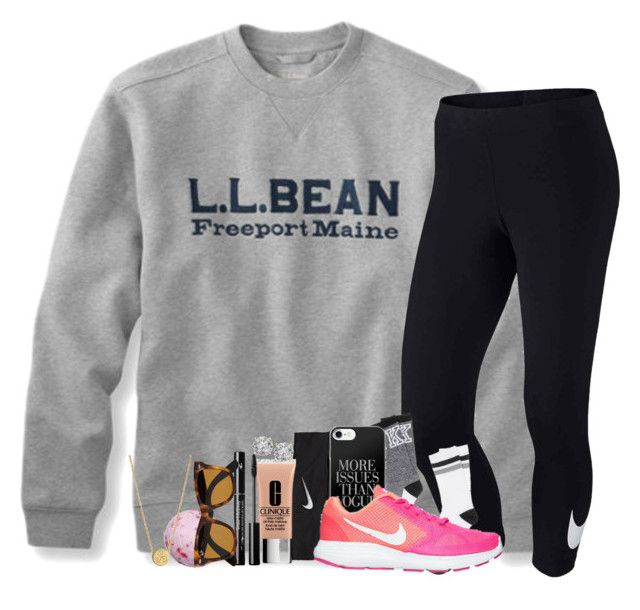 """""""sick day"""" by legitmaddywill ❤ liked on Polyvore featuring NIKE, Clinique, Liwu Jewellery and Ray-Ban"""