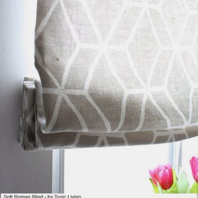 Soft roman shade in geometric linen print by @tonicliving