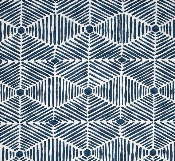 Indoor Outdoor Tribal Thatch Navy Blue Fabric by by CottonCircle
