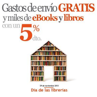 ¡Feliz #diadelaslibrerias!  Queremos celebrarlo con vosotros con los gastos de envío gratis para todos los pedidos a España Península sin pedido mínimo y el 5% en miles de libros y #Ebooks http://ow.ly/rgIh5.