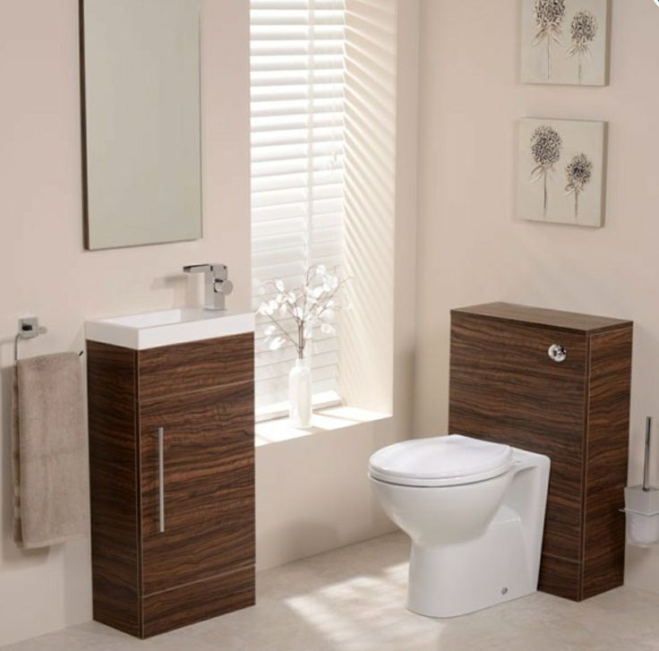 The Aspen walnut combination unit is a contemporary 410mm vanity unit with a single door cupboard and internal shelf featuring one tap hole for the use of mono basin mixers and the Aspen Back to Wall WC Unit complete with dual flush cistern and soft close seat. Finished in walnut.