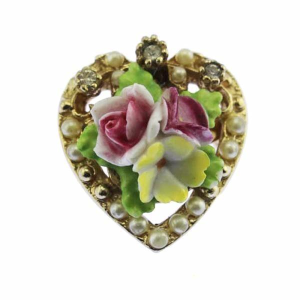 Coro Porcelain Flower Gold Heart Brooch