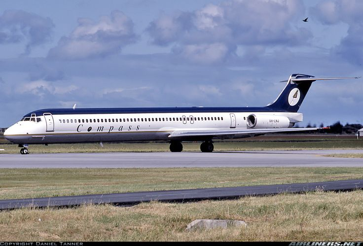 Compass Airlines McDonnell Douglas MD-82 VH-LNJ at Adelaide-International, November 1992. On lease from SAS. (Photo: Daniel Tanner)