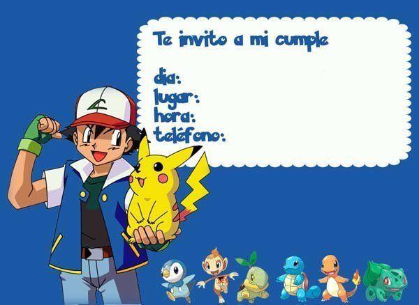 Las mejores invitaciones de Pokemon para imprimir. http://www.invitacionesde.com/invitaciones-de-cumpleanos/invitaciones-de-pokemon-para-imprimir/