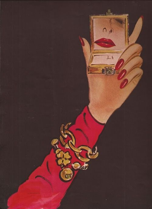 Great Revlon Ad with charm bracelets dangling on her wrist!