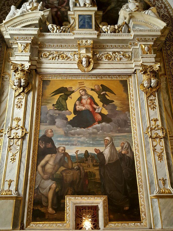 Basilica di Santa Maria delle Grazie  Madonna delle Grazie con San Gerolamo, Sant'Eusebio e le Sante discepole Eustochio e Paola Paolo da Caylina