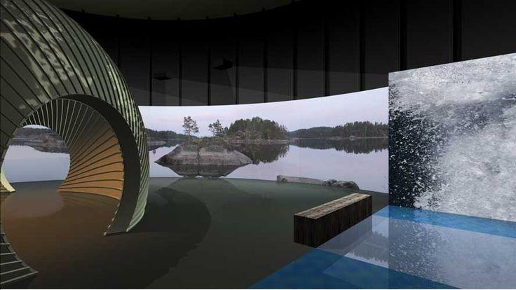 Mallinnuskuva näyttelyhallista/3D rendered view of the exhibition hall