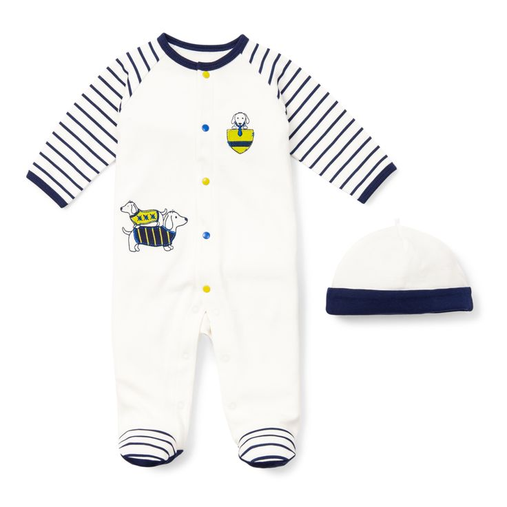 Dashing Dachshund Footie- A cute take baby home outfit for the mom who loves a cute puppy