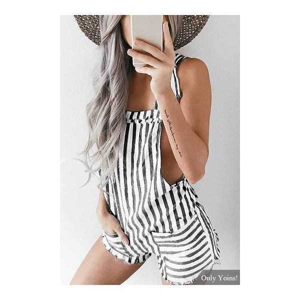 Tie Shoulder Straps Black Stripe Playsuit ($14) ❤ liked on Polyvore featuring jumpsuits, rompers, cut out romper, striped rompers, tie-dye rompers, cutout romper and striped romper