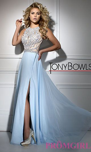 Sleeveless Long Sheer Back Tony Bowls Prom Dress (COSTS TOO MUCH)