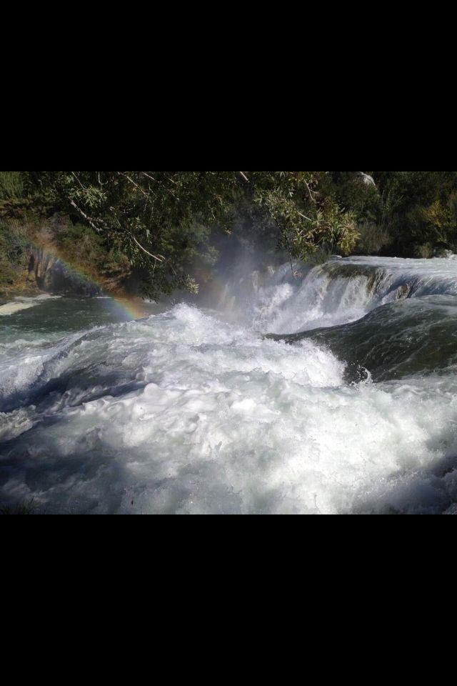 Doppio arcobaleno cascate parco nazionale Croazia