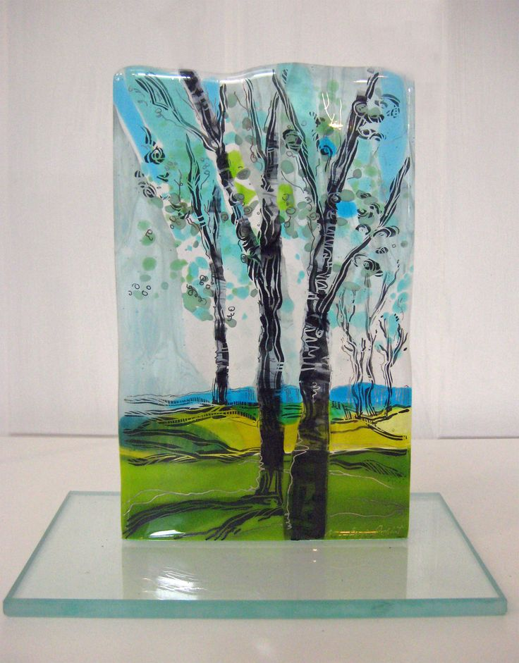 Aqua landscape freestanding fused glass my fused glass for Recycled glass art projects
