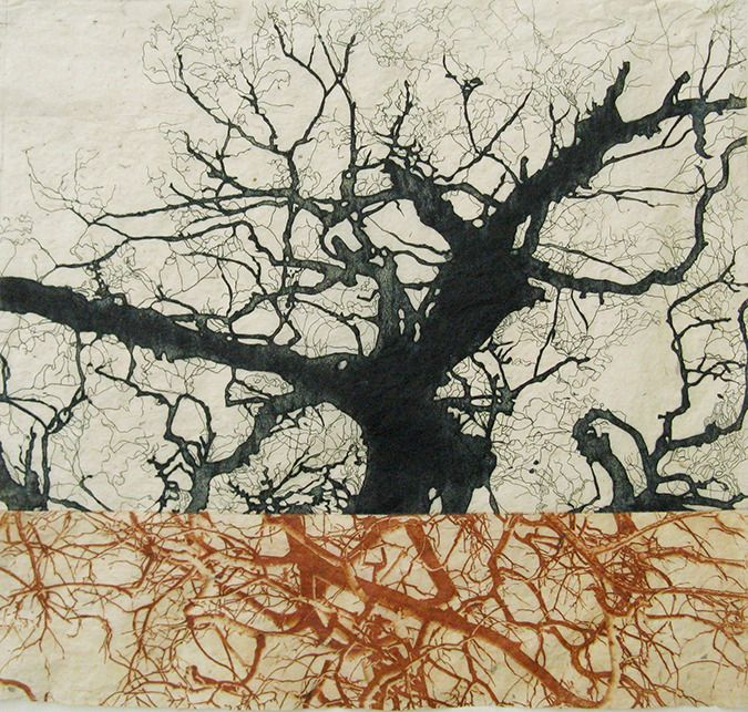 Christine Willcocks  three trees have fallen, 2 plate etching on handmade paper, 2011  http://www.christinewillcocks.com/