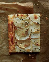 This is delicious - added a row of thinly-sliced onions tonight, and it was equally amazing.  Red Potato and Apple Galette Recipe on Food & Wine