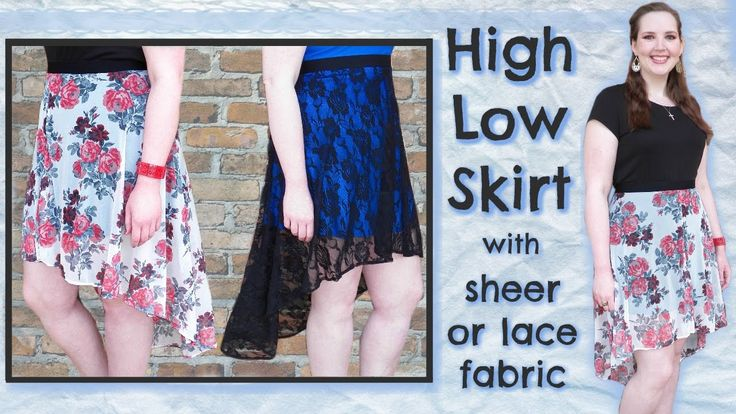 DIY High Low Skater Skirt | 2 Styles: Lace or Sheer Fabric + Lining | Se...