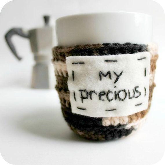 Funny coffee mug Cozy Tea Cup My Precious crochet handmade cozy cover on Etsy, $14.00
