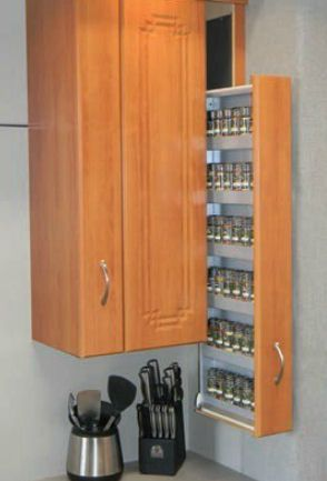 pull out pull down spice rack | #kitchenstorage #kitchenorganization                                                                                                                                                     More