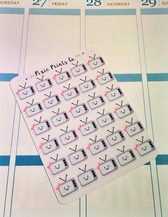 MIni TV Planner Stickers Erin Condren Planner by PixiePrintsCo