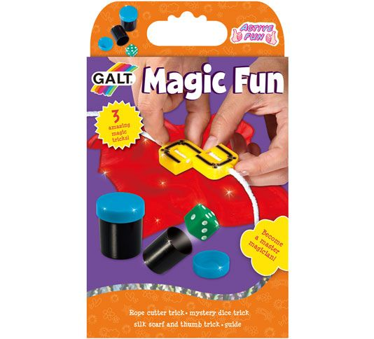 Magic Fun WAS £4.99 NOW £2.49  3 magic tricks to amaze friends and family. Follow the step by step guide to master the secrets of performing magic. Hours of fun! Contents: rope cutter trick, mystery dice trick, silk scarf and thumb trick, guide.