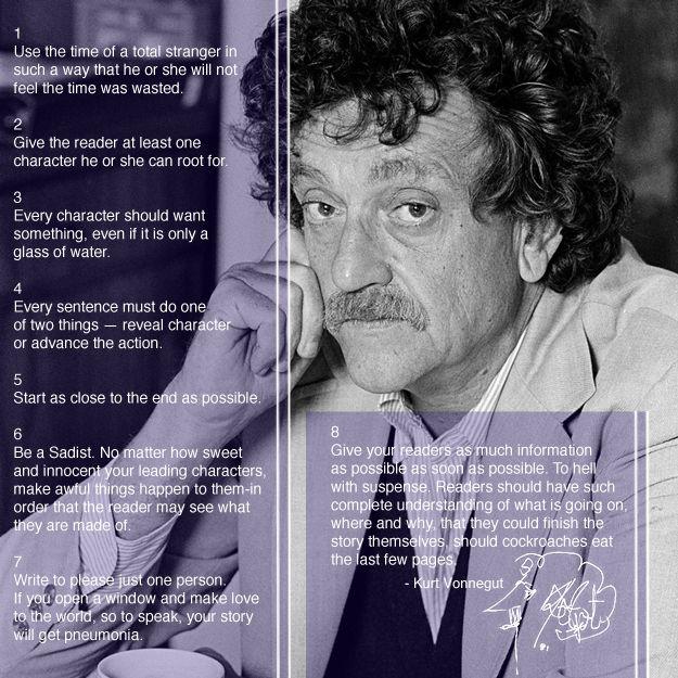 Les 16 règles d'écriture de Kurt Vonnegut. J'aime cette approche très directe, presque utilitaire de l'écriture.