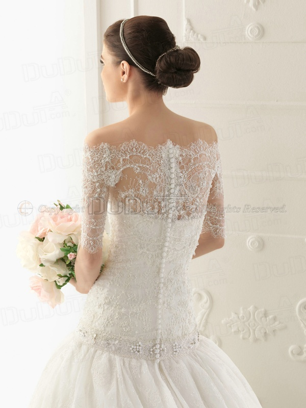 Ball Gown Lace Tube Top Strapless Buttons