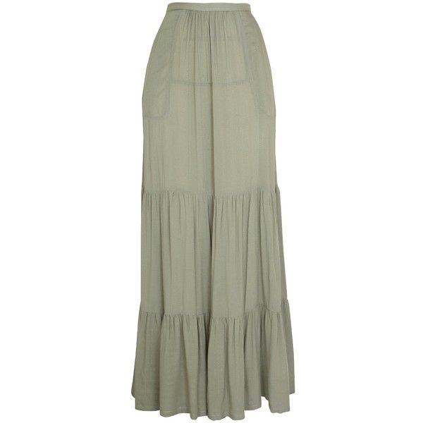 Luella Maxi Skirt Khaki ($149) ❤ liked on Polyvore featuring skirts, long skirts, luella, khaki skirt, long green maxi skirt and maxi length skirts